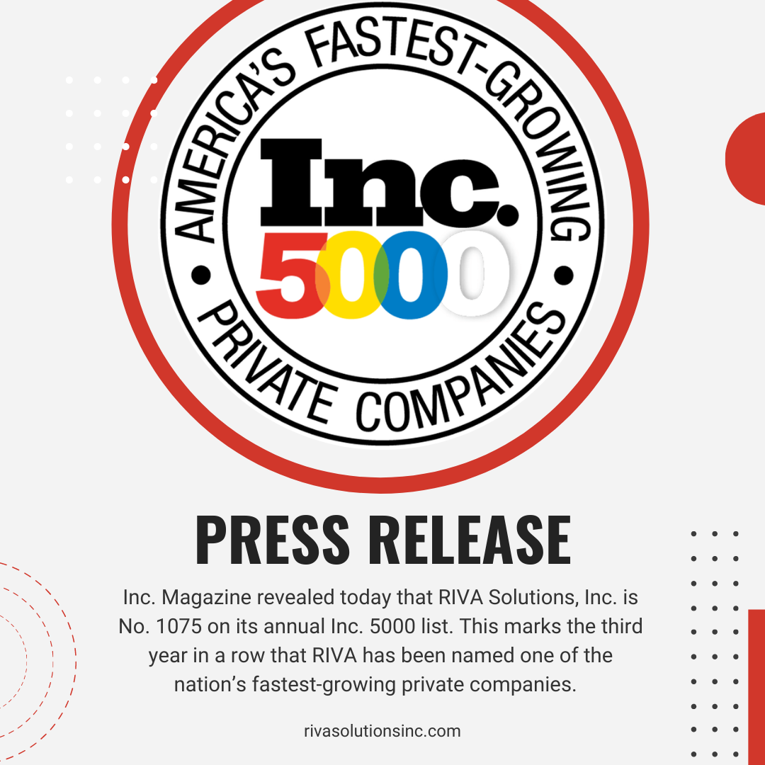 RIVA ranked No. 1075 on Inc 5000 fastest growing companies list